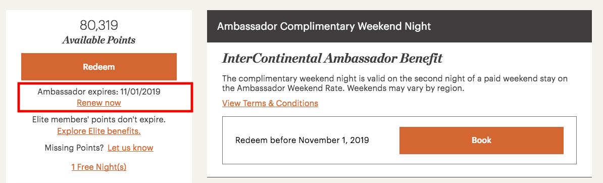 IHG Rewards Clubs Current Ambassador Renewal Options - 40K