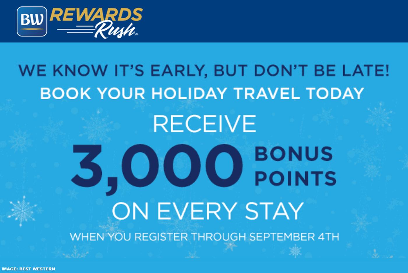 Best Western Rewards 3,000 Bonus Points Per Stay Through