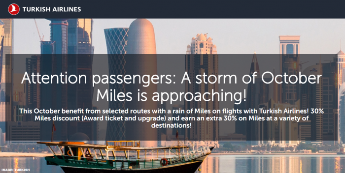 Turkish Airlines Miles&Smiles October 2019 Specials