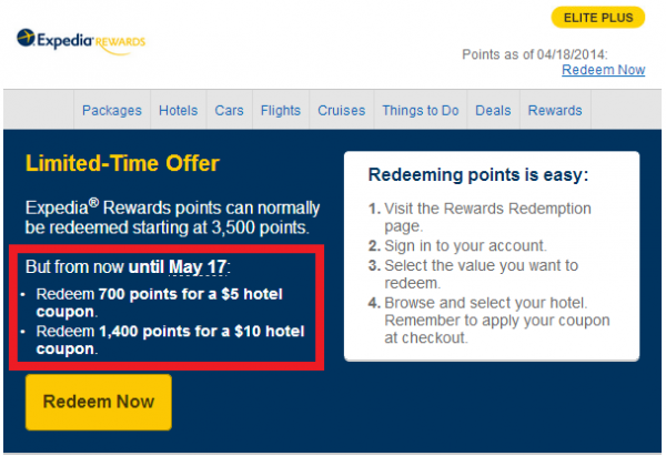 Expedia rewards 5 amp 10 hotel coupons for points until may 17