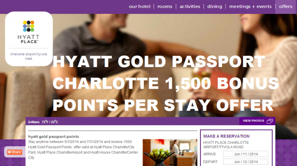 hyatt gold passport charlotte promo 1 500 bonus points per stay between may 1 july 31 2014. Black Bedroom Furniture Sets. Home Design Ideas
