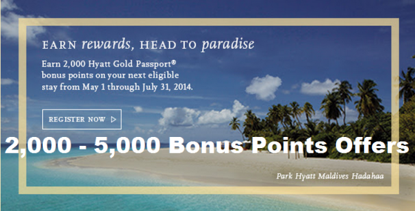 hyatt gold passport 2 000 5 000 bonus points offers for one stay between may 1 july 31 2014. Black Bedroom Furniture Sets. Home Design Ideas