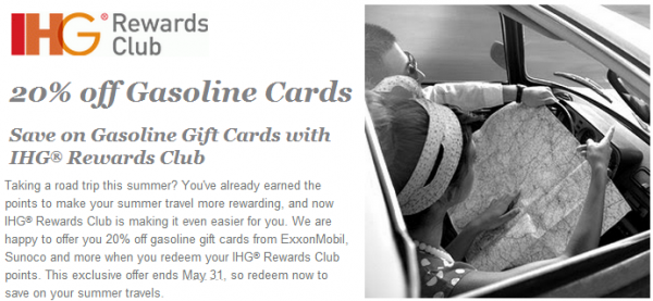 Ihg rewards club gas card 20 off sale terrible value loyaltylobby