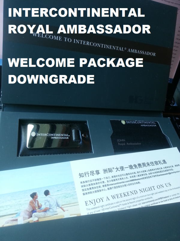 Intercontinental Royal Ambassador Welcome Package