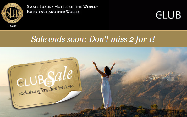 Small luxury hotels of the world 2 for 1 sale april 2014 for Slh of the world